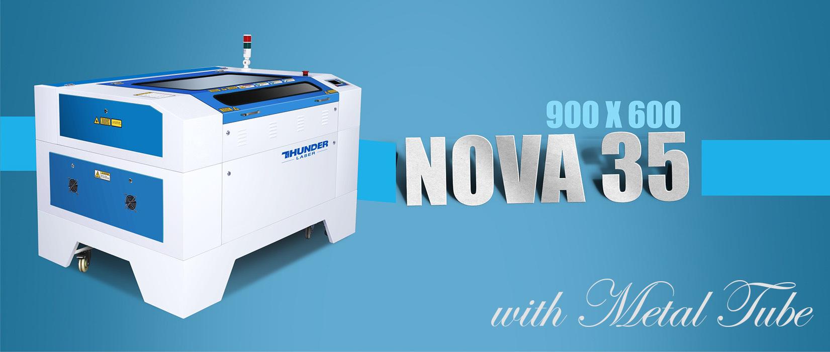 Nova35 laser engraving machine with metal tube
