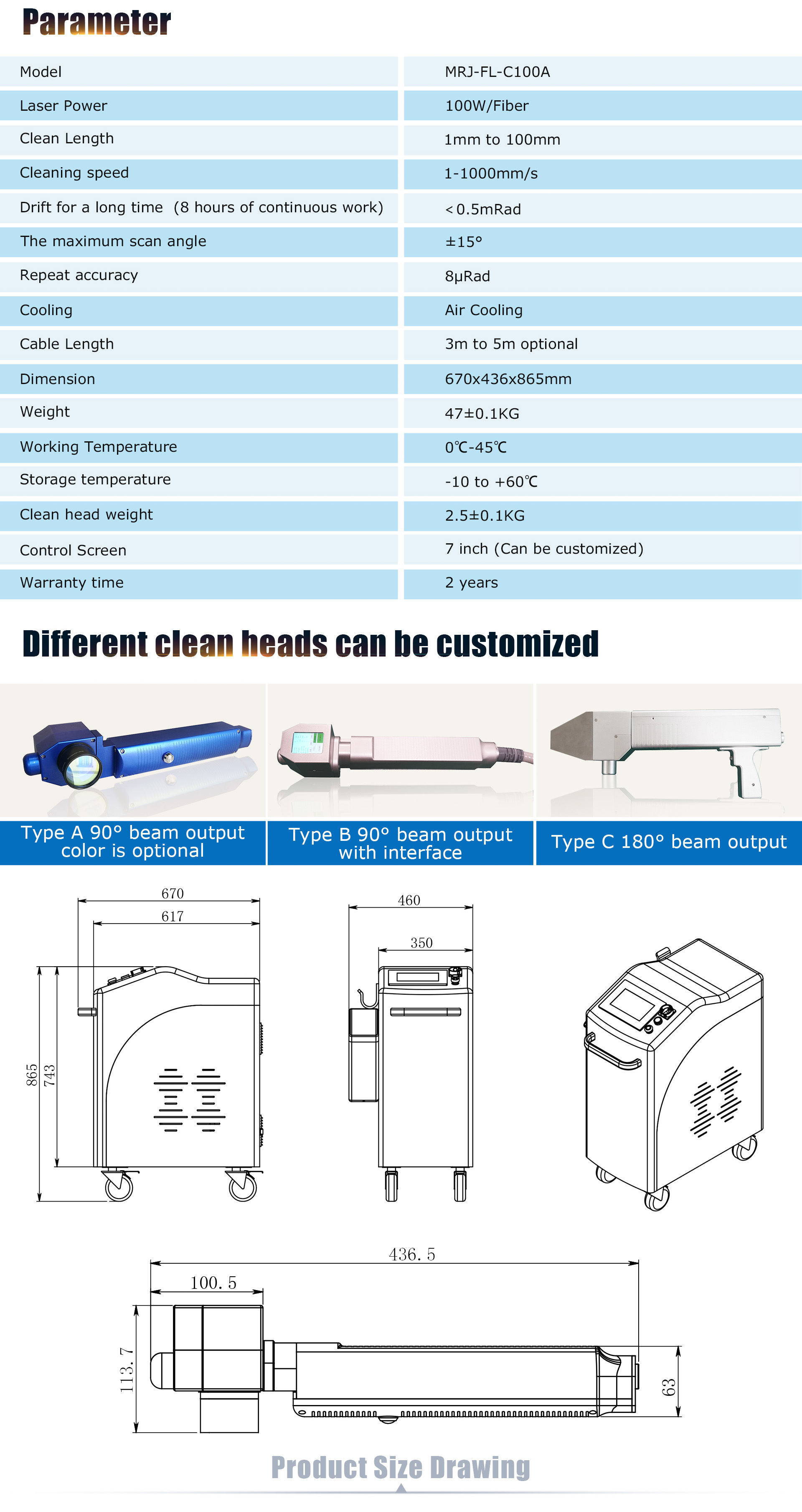 laser cleaning machines parameters